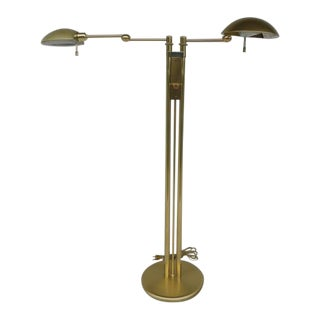 Holtkoetter Brass Dual Swing Arm Floor Lamp For Sale