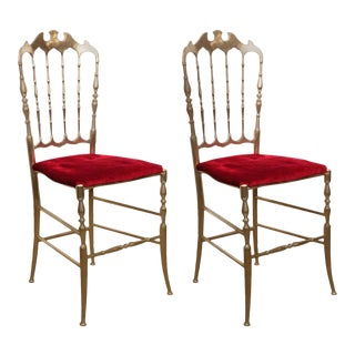 Pair of Polished Brass Chiavari Chairs With Red Velvet, Italy For Sale