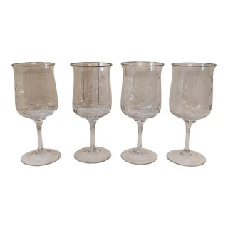 Hand Etched Crystal Goblets - Set of 4