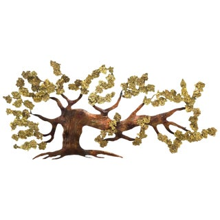 Very Large Tree of Life Metal Brass and Copper Wall Hanging Sculpture For Sale