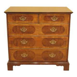 1990s Traditional Baker Collectors Edition Inlaid Walnut William & Mary Chest For Sale