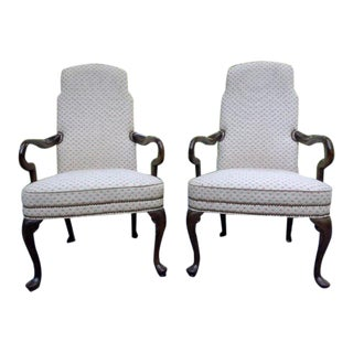 Vintage Ethan Allen Traditional Classic Armchairs ~ a Pair For Sale