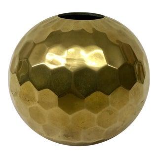 Vintage Brass Hammered Round Vase