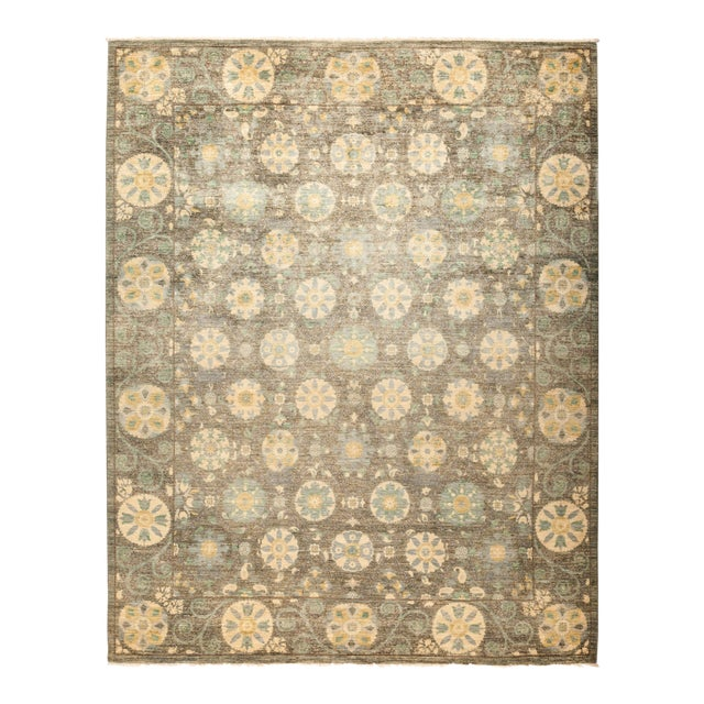 """Suzani Hand-Knotted Area Rug 8' 1"""" x 10' 4"""" For Sale"""