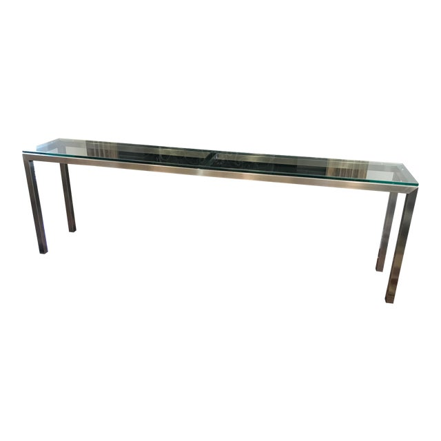 Room and Board Steel Glass Top Portico Console Table - Image 1 of 4