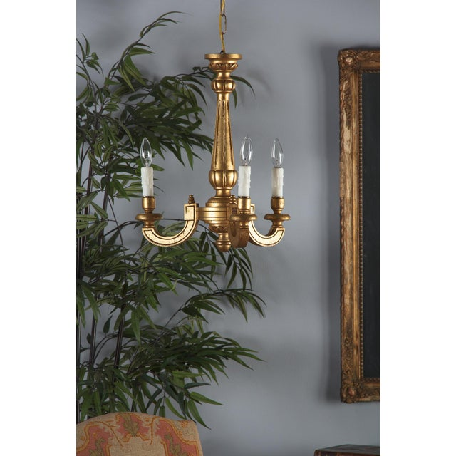 1950s Mid-Century Italian Giltwood 3-Light Chandelier For Sale In Austin - Image 6 of 13