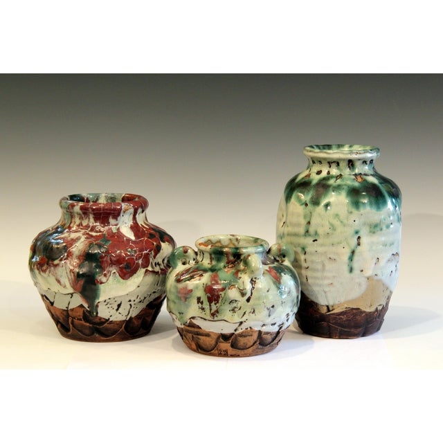 Art Deco Awaji Pottery Manipulated Jar Gloppy Drip Glaze Zen Tea Ceremony Vase For Sale - Image 3 of 12