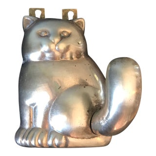 1970s Vintage Brass Cat Coat Hanger For Sale