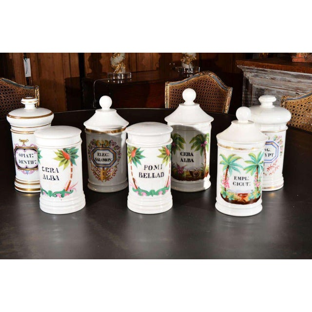 Porcelain apothecary jars, with hand-painted Latin labels, from 19th century France. Flat lids cover two jars and lids...