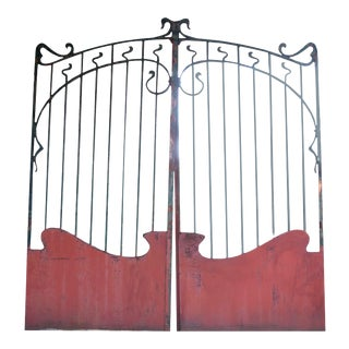 French Art Nouveau Forged Iron Painted Entrance Gate For Sale