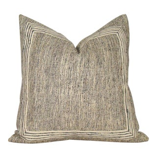 Khaki & Black Raw Silk Tweed Pillow Cover For Sale