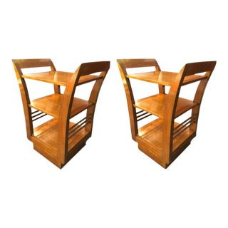 Jean Royère Pair of Two-Tier Bedsides or Side Tables in Oak For Sale