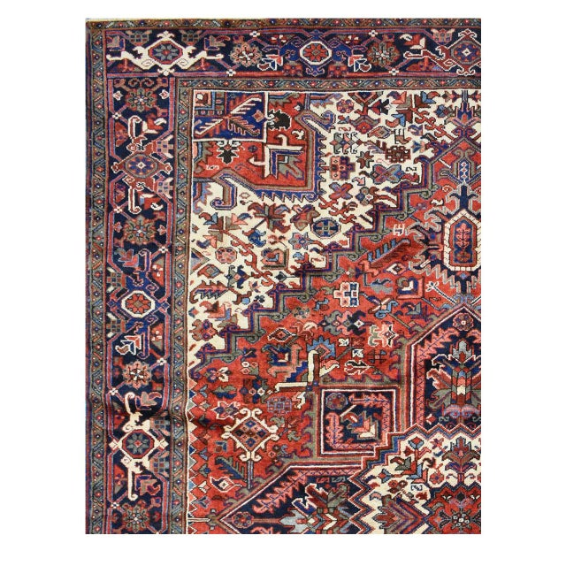 Islamic Vintage Persian Heriz Rug - 8'1'' X 11'3'' For Sale - Image 3 of 4
