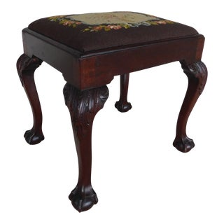 Feldenkreis Chippendale Style Mahogany Frame Needle Point Bench For Sale