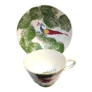 Early & Rare 19thc Peafowl /Stick Spatter Childs Cup & Saucer For Sale
