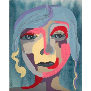 """Contemporary Abstract Portrait Painting """"Blue Haired Babe"""" - Framed For Sale"""