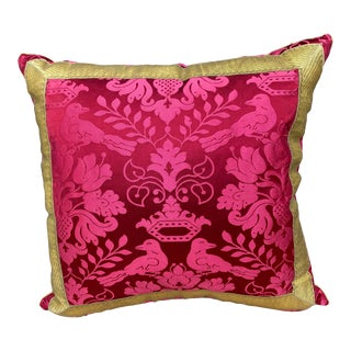 Scalamandre Raspberry Red Silk Pillow For Sale