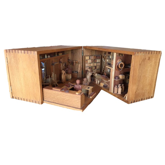 Hand Carved Wood With Marquetry General Store Model Diorama For Sale - Image 11 of 11