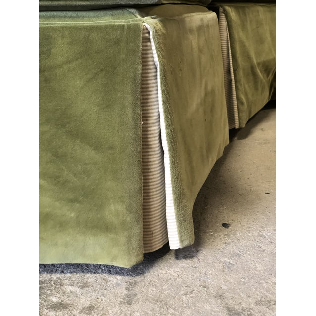 White Vintage Velvet Green Sectional For Sale - Image 8 of 10
