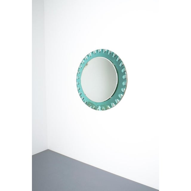 "Fontana Arte attributed wall mirror green glass, midcentury Italy. 28"" wall mirror with a mirrored green glass frame and a..."