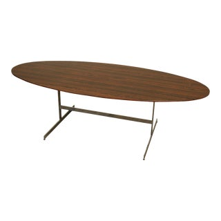 """Mid Century Modern 96"""" Oval Faux Rosewood Chrome Base Dining Table For Sale"""