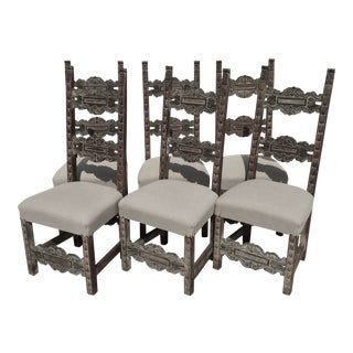 Early 20th Century Hand Carved Spanish Colonial Style Chairs - Set of 6 For Sale