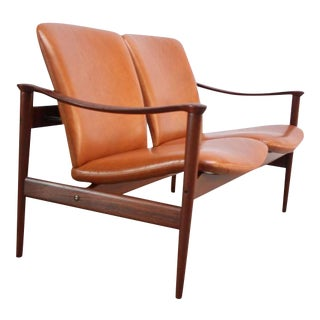 Fredrik Kayser Loveseat in Leather and Teak For Sale