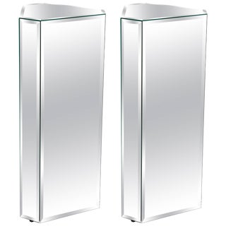 Triangular Shaped Mirror Pedestals With Beveled Edges - a Pair For Sale