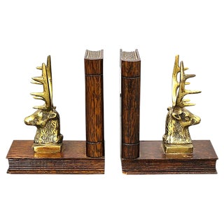Antique Brass Stag Bookends, a Pair For Sale