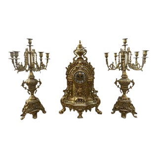 Antique Victorian Cast Brass Ornate Mantle Clock With German Works and Two Candelabras - 3 Pieces For Sale