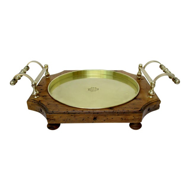 Wood & Brass Serving Tray For Sale