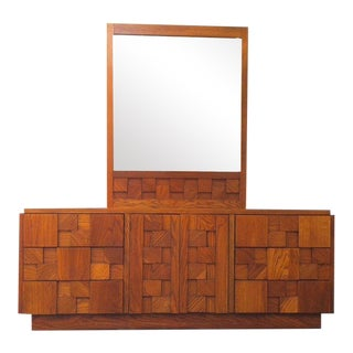 Brutalist Lane Staccato Triple Dresser With Mirror For Sale