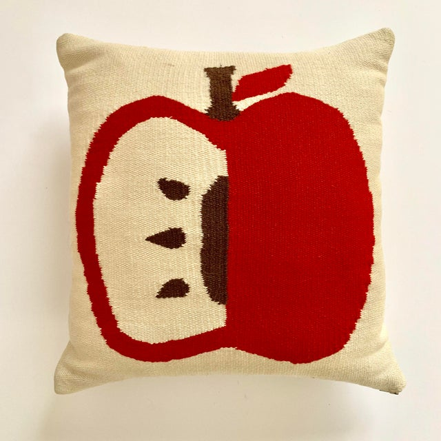 Contemporary Contemporary Jonathan Adler Apple Pillow - 14ʺW × 14ʺH For Sale - Image 3 of 3