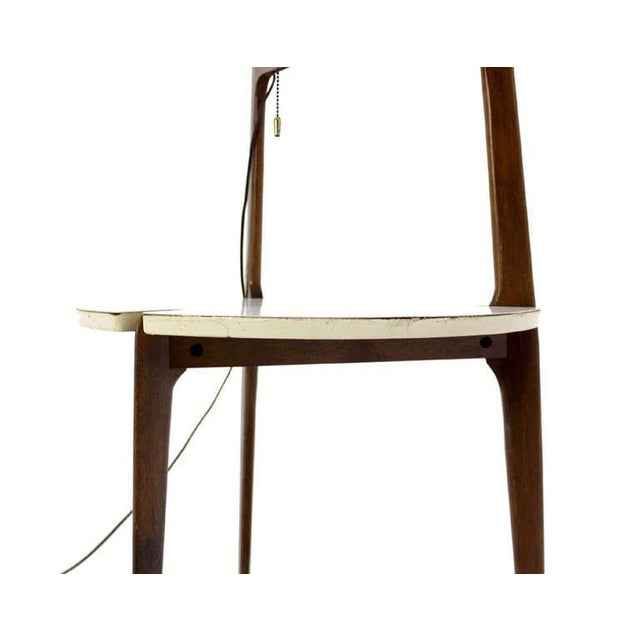 Mid-Century Modern Mid-Century Modern Walnut Floor Lamp with Side Table For Sale - Image 3 of 7