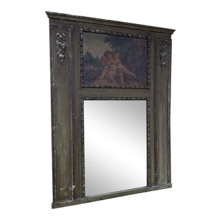 Antique French Handpainted Trumeau Mirror For Sale