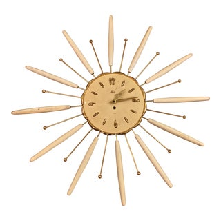 1960s Vintage Decorative Ivory Shaw Company Sunburst Clock For Sale
