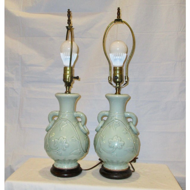 Modern Celadon Vases Mounted as Lamps - a Pair For Sale - Image 3 of 7