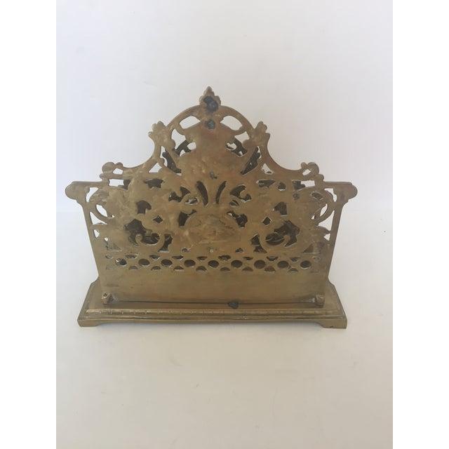 Decorative Brass Ornate Letter Holder For Sale - Image 4 of 5