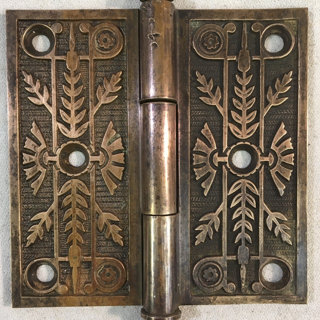 Antique Victorian Eastlake Brass Door Hinge For Sale - Image 9 of 11