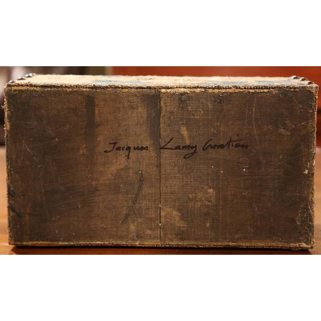 Bombe Wood Trunk Covered With 18th Century Aubusson Tapestry and Signed J. Lamy For Sale - Image 10 of 10