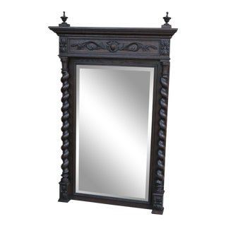 Antique English Oak Mirror Barley Twist Beveled Wall Pier Mantel Mirror For Sale