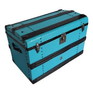 Metal Covered Turquoise Antique Curve Top Trunk For Sale