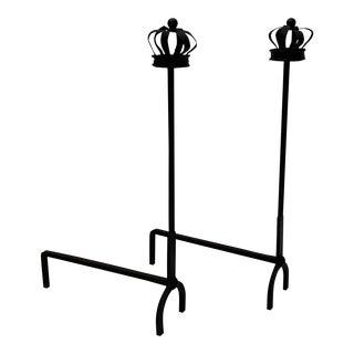 Antique Black Cast Iron Crown Motif Andirons - a Pair For Sale