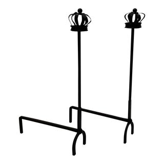 Black Cast Iron Crown Motife Andirons a Pair For Sale