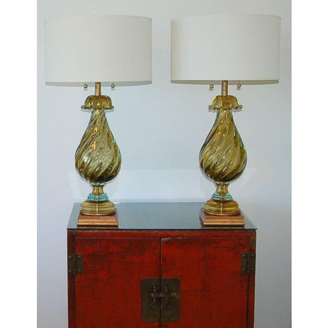 1960s Marbro Murano Glass Table Lamps Gold Blue For Sale - Image 5 of 10