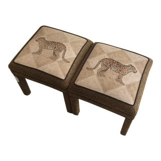 Cheetah Upholstered Ottomans - A Pair