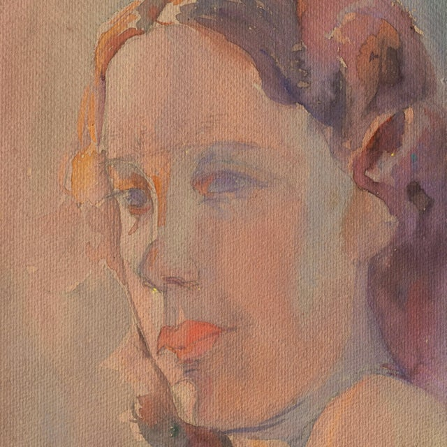 Impressionist 'Study of a Young Woman' by Sarah Hobson, 1936; California Woman Artist, Art Institute of Chicago For Sale - Image 3 of 6