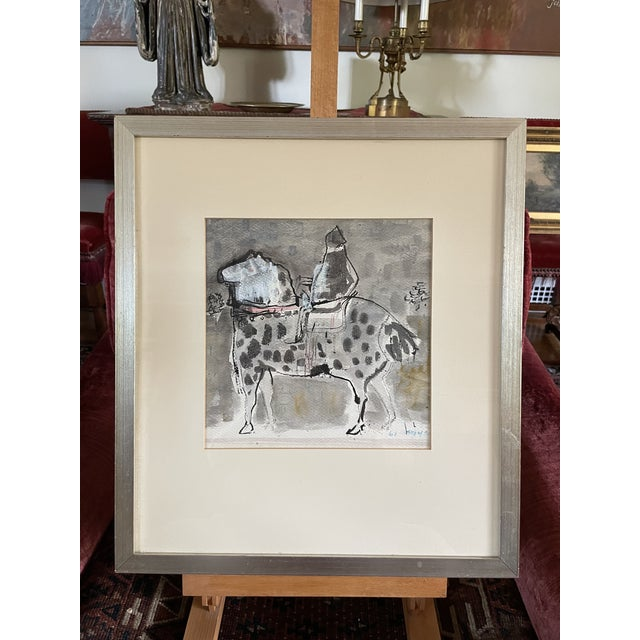 """1960s """"Horse and Rider"""" Modernist Figurative Gouache Painting by Birney Quick, Framed For Sale - Image 9 of 9"""