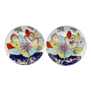 20th Century Chinese Tobacco Leaf Pattern Plates - a Pair For Sale