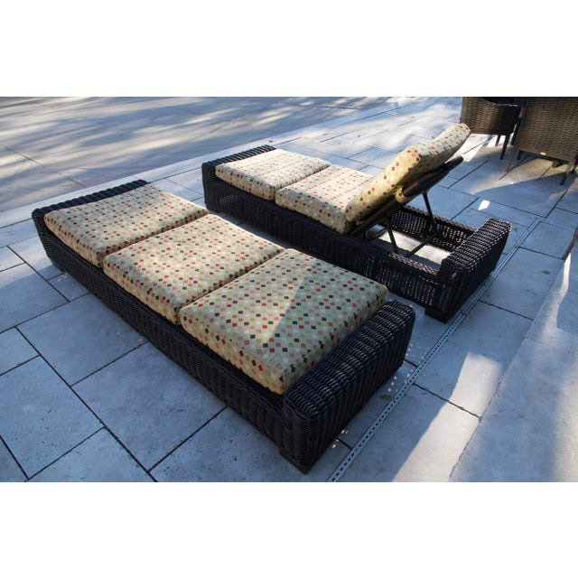 Summer Classics- Rustic Woven Chaise Lounge and Cushion For Sale - Image 4 of 13
